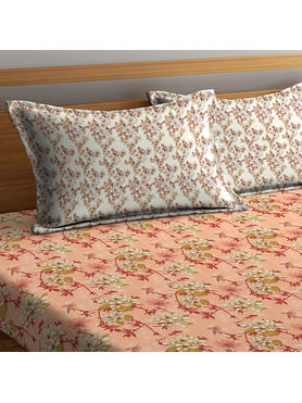 Stellar Home Lilly Collection - Striking Floral Print Bedsheet With 1 Pillow Cover (100% Cotton, Single Size)