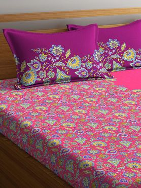 Stellar Home Lilly Collection - Stunning Floral Paradise Pink Print Bedsheet With 2 Pillow Covers (100% Cotton, Queen Size)