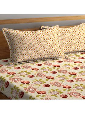 Stellar Home Lilly Collection - Pastel, Earthy Floral Print Bedsheet With 2 Pillow Covers (100% Cotton, Queen Size)