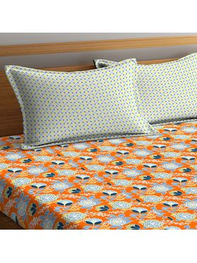Stellar Home Lilly Collection - Blue & Orange Contrast Floral Print Bedsheet With 2 Pillow Covers (100% Cotton, Queen Size)