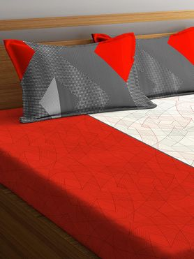 Stellar Home Lilly Collection - Red, Black & White Abstract Print Bedsheet With 2 Pillow Covers (100% Cotton, Queen Size)