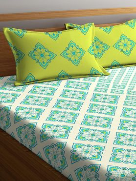 Stellar Home Lilly Collection - Ethnic Nature-Based Print Bedsheet With 2 Pillow Covers (100% Cotton, Queen Size)