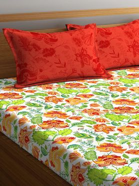 Stellar Home Lilly Collection - Autumn-Hued Print Floral Bedsheet With 2 Pillow Covers (100% Cotton, Queen Size)