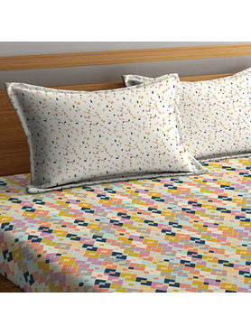 Stellar Home Lilly Collection - Multicolour Abstract Geometric Print Double Size Bedsheet With 2 Pillow Covers (100% Cotton)