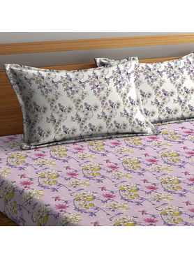 Stellar Home Lilly Collection - Lavender-Hued Print Floral Bedsheet With 2 Pillow Covers (100% Cotton, Queen Size)