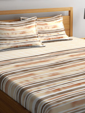 Stellar Home Lilly Plus Collection - Abstract Striped Print Bedsheet With 2 Pillow Covers (100% Cotton, Super King Size)
