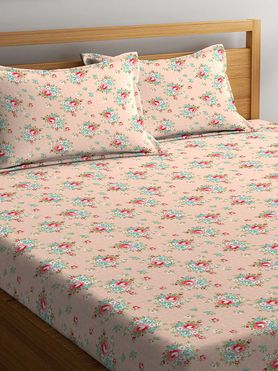 Stellar Home Lilly Plus Collection - Soft Pink Floral Print Bedsheet With 2 Pillow Covers (100% Cotton, Super King Size)