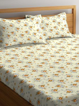 Stellar Home Lilly Plus Collection - Intricate Floral Print Bedsheet With 2 Pillow Covers (100% Cotton, Super King Size)