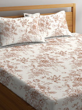 Stellar Home Lilly Plus Collection - Brown & White Bold Floral Print Bedsheet With 2 Pillow Covers (100% Cotton, Super King Size)