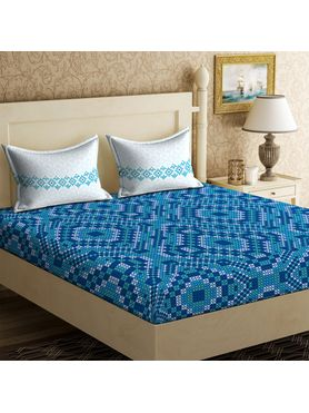 Stellar Home Iris Collection - Detailed Sea Blue Geometric Print Bedsheet With 2 Pillow Covers (100% Cotton, Queen Size)