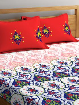 Stellar Home Iris Collection - Stunning Geometric Floral Print Bedsheet With 2 Pillow Covers (100% Cotton, Queen Size)