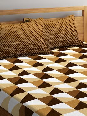 Stellar Home Iris Collection - Abstract Geometric Beige Print Bedsheet With 2 Pillow Covers (100% Cotton, Queen Size)