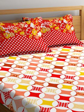 Stellar Home Iris Collection - Colourful Circular Geometric Print Bedsheet With 2 Pillow Covers (100% Cotton, Queen Size)