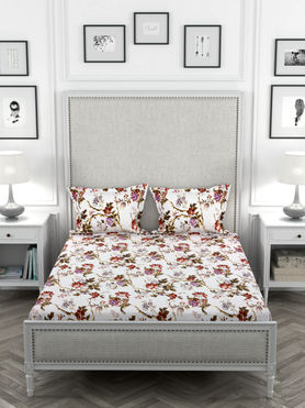 Stellar Home May Flower Collection - Floral Painting Print Bedsheet With 2 Pillow Covers (Polyester Brushed Fabric, Queen Size)