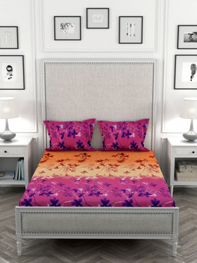 Stellar Home May Flower Collection - Pink & Orange Floral Print Double Size Bedsheet With 2 Pillow Covers (Polyester Brushed Fabric)