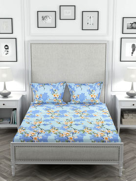 Stellar Home May Flower Collection - Yellow & Blue Floral Print Bedsheet With 2 Pillow Covers (Polyester Brushed Fabric, Queen Size)