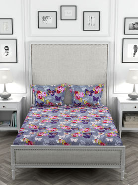 Stellar Home May Flower Collection - Multi-Coloured Butterfly Print Bedsheet With 2 Pillow Covers (Polyester Brushed Fabric, Queen Size)