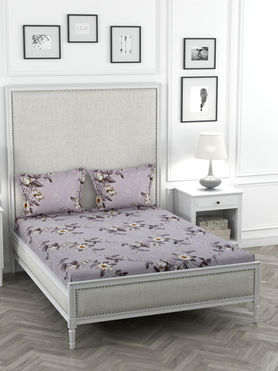 Stellar Home Oliver Collection - Striking Lavender Floral Print Bedsheet With 2 Pillow Covers (Super Soft Micro, Queen Size)
