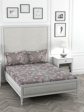 Stellar Home Oliver Collection - Shades of Pink Floral Print Bedsheet With 2 Pillow Covers (Super Soft Micro, Queen Size)