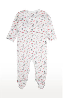 Mee Mee Full Sleeve Unisex White Printed Romper (Red_Navy)