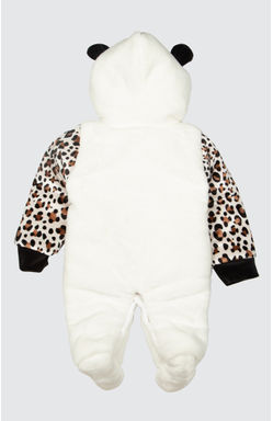 Mee Mee Full Sleeve Unisex Fur Hooded With Cow Embroidery Romper