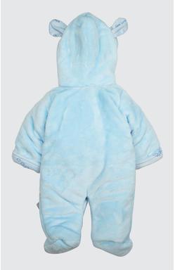 Mee Mee Full Sleeve Unisex Fur Hooded With Applique Romper (Blue)