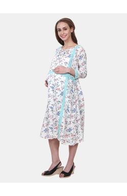 Mee Mee Maternity Dress with Feeding Zipper (White_XXL)