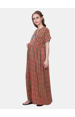 Mee Mee Maternity Cotton Night Gown with Zipper for Feeding (Multi_XXL)