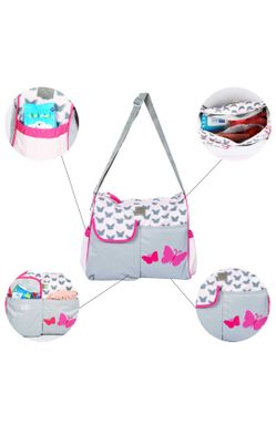 Grey Multifunctional Diaper Bag with Pockets