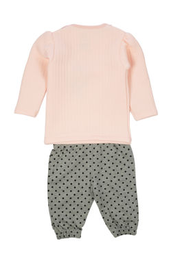 Mee Mee Full Sleeve Girls Night Suit (Pink_Grey_Melange)