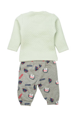 Mee Mee Full Sleeve Boys Night Suit (Green_Grey_Melange)