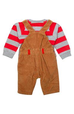 Mee Mee Boys Full Sleeve Red T-Shirt With Denim & Fleece Dungree Set