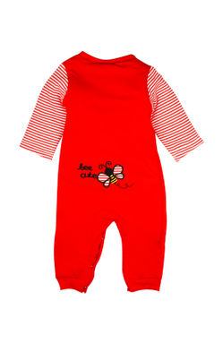 Mee Mee Full Sleeve Girls Romper Padded With Butterfly Applique At Front & Back