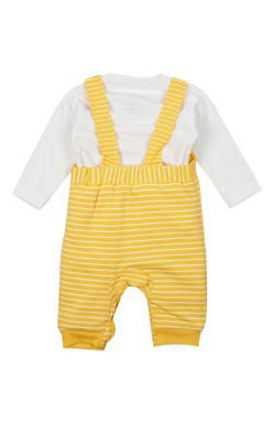 Mee Mee Full Sleeve Boys Dungaree Set (Yellow_White)