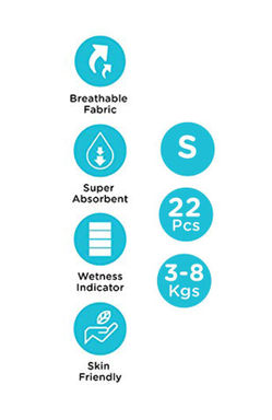Mee Mee Premium Breathable Baby Diapers with Wetness Indicator (Small, 22 pcs)