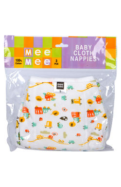 Mee Mee Baby Cloth Nappies (Small, 3 Pcs)