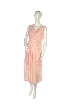Mee Mee Fashionable Maternity Dress With Feeding Zip ? Pink And White