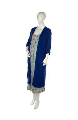 Mee Mee Fashionable Maternity Long Jacket Dress With Feeding Zip ? Blue