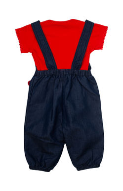 Mee Mee Half Sleeve Girls Velor Top With Denim Dungaree Set (NavyBlue)