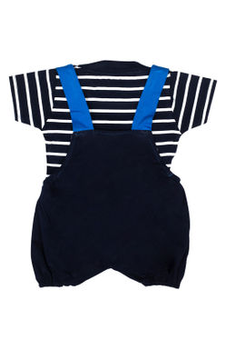 Mee Mee Short Sleeve Striped Tee Donald Dungaree Set