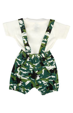 Mee Mee Short Sleeve Tee Camouflage Dungaree Set With Bow
