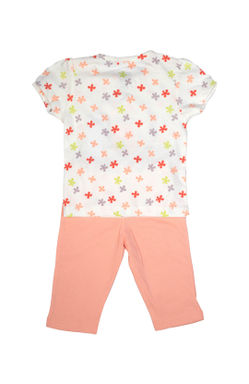 Mee Mee Kids Short Sleeve Flower Printed With Bunny Print Night Suit