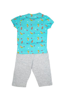 Mee Meekids Short Sleeve Feather Printed Night Suit