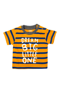 Mee Mee Kids Dark Grey & Mustard-Blue Stripes T-Shirts – Pack Of 2
