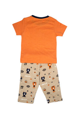 Mee Mee Kids Short Sleeve Hey Honey Bear Printed Night Suit