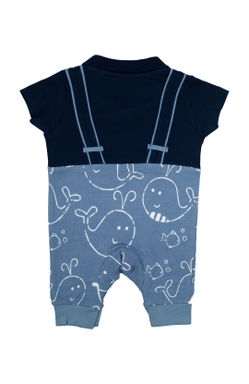 Mee Mee Kids Dolphin Print Romper With Suspenders And Bow