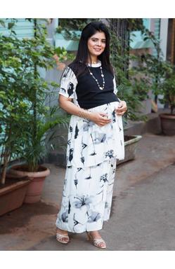 Mee Mee Fashionable Maternity Dress With Feeding Zip (White & Black)
