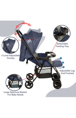 Mee Mee Easy to Push Baby Pram with Quick One-Hand Folding