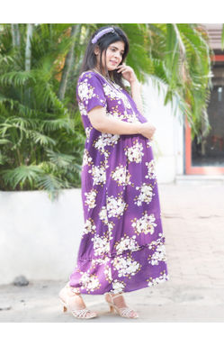 Mee Mee Fashionable Maternity Dress with Feeding Zip – Purple