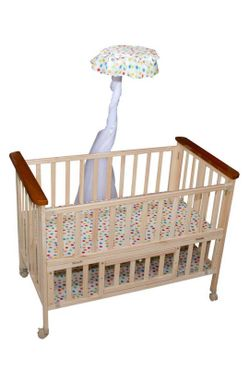 Mee Mee Wooden Baby Cot with Adjustable Height & Mosquito Net (Brown)